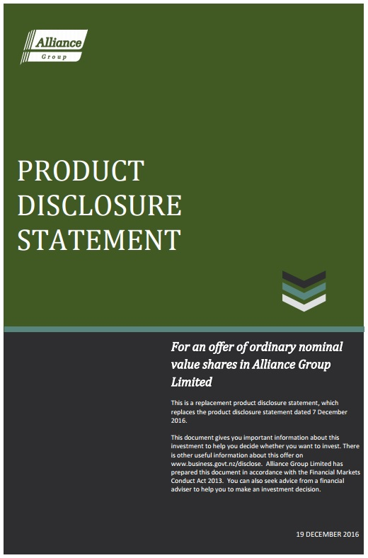 Alliance Group Product Disclosure Statement - 19 December 2016