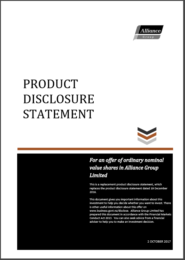 Alliance Group Product Disclosure Statement - 2 October 2017