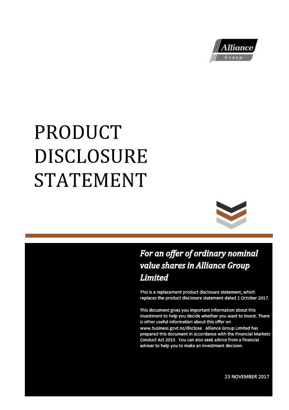 Product Disclosure Statement - 23 November 2017