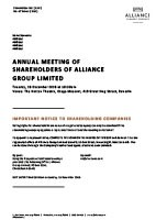 Annual Meeting of Shareholders of Alliance Group Limited