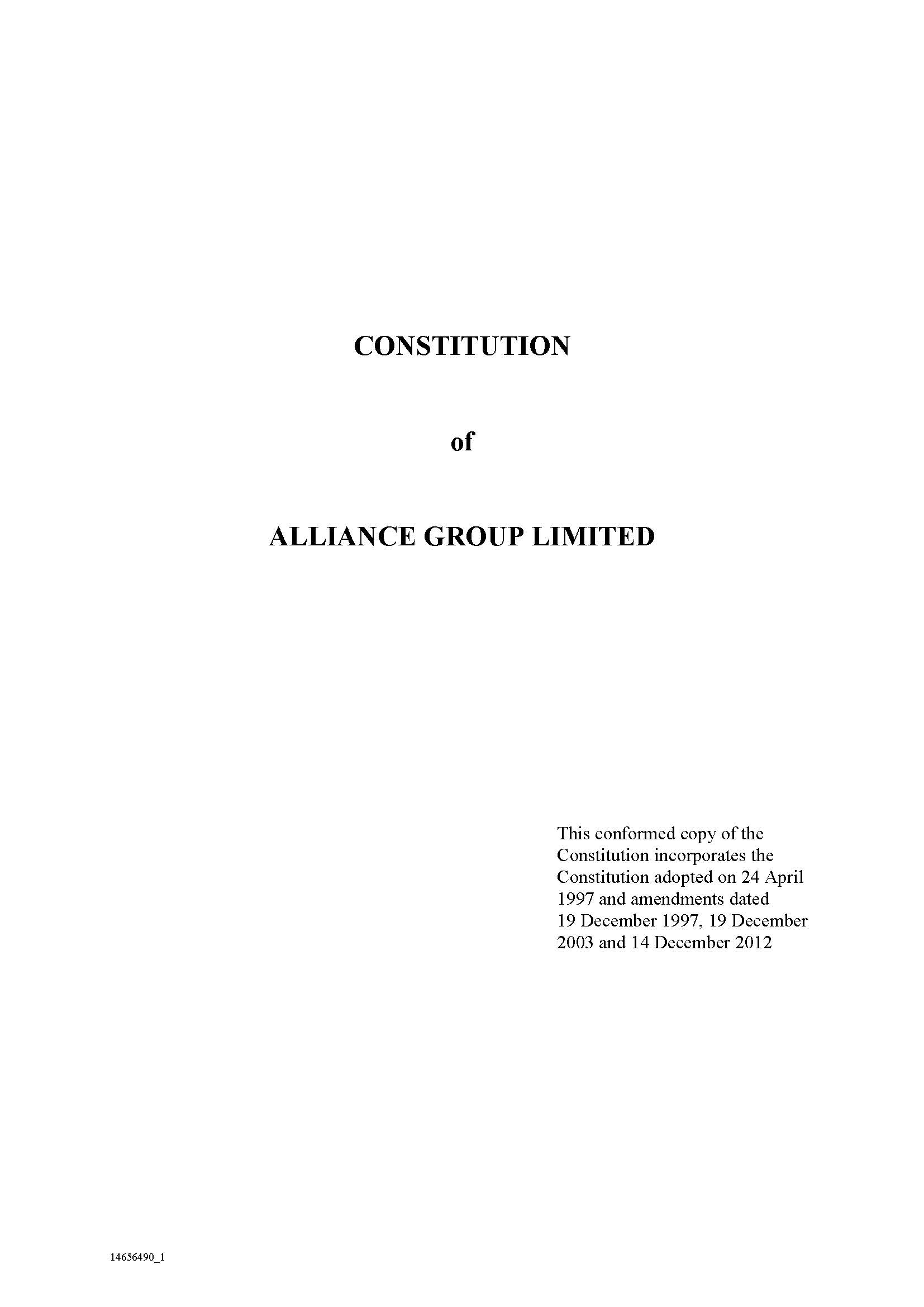 Alliance Group Constitution